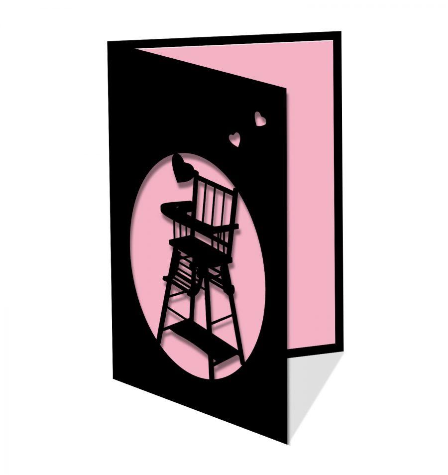 Chaise haute rose