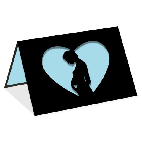 Pregnant woman blue heart