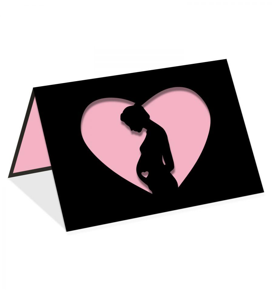 Femme enceinte coeur rose
