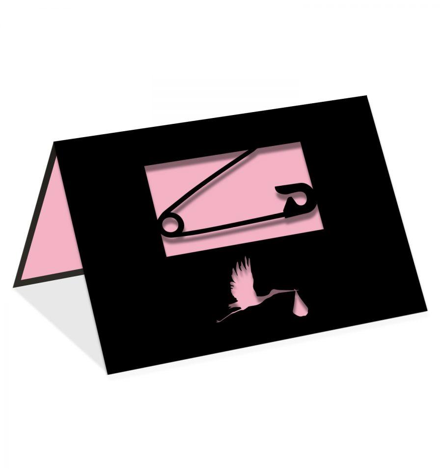 Épingle cigogne rose