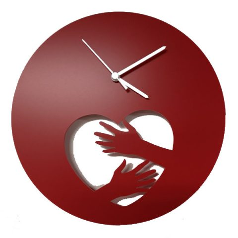 Heart and hands - clock (red)