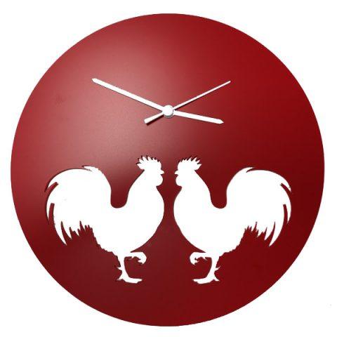 Deux coqs -horloge (rouge)