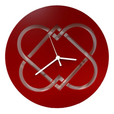 Interlocking heart red clock