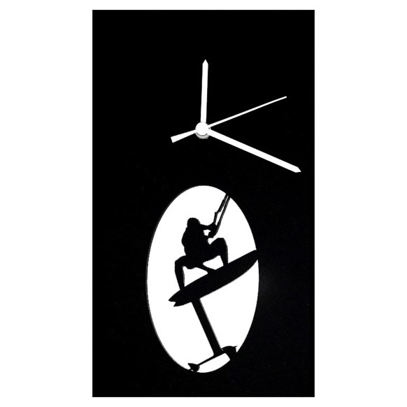 Foil surf square clock (black)